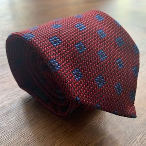 Drake's Red & Blue Geometric Hand Made Tie